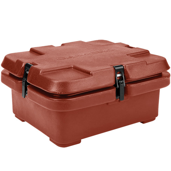 "Cambro 240MPC402 Camcarrier 4"" Deep Brick Red Top Loading Inuslated Food Pan Carrier"