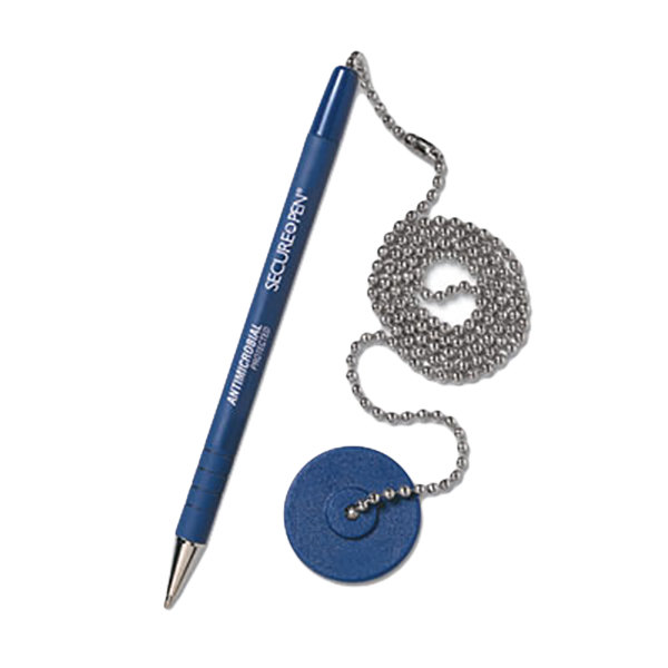 MMF Industries 28908 Secure-A-Pen Blue Ink Medium Point Ballpoint Counter Pen with Chain, Base, and Antimicrobial Protection Main Image 1