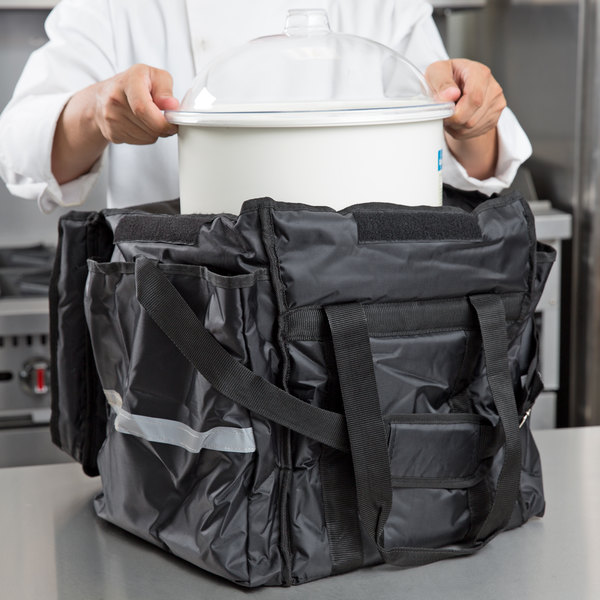 """ServIt Insulated Food Delivery Bag, Black Soft-Sided Heavy-Duty Nylon with White Cold Crock, Lid and Ice Pack, 13"""" x 13"""" x 15 1/2"""""""