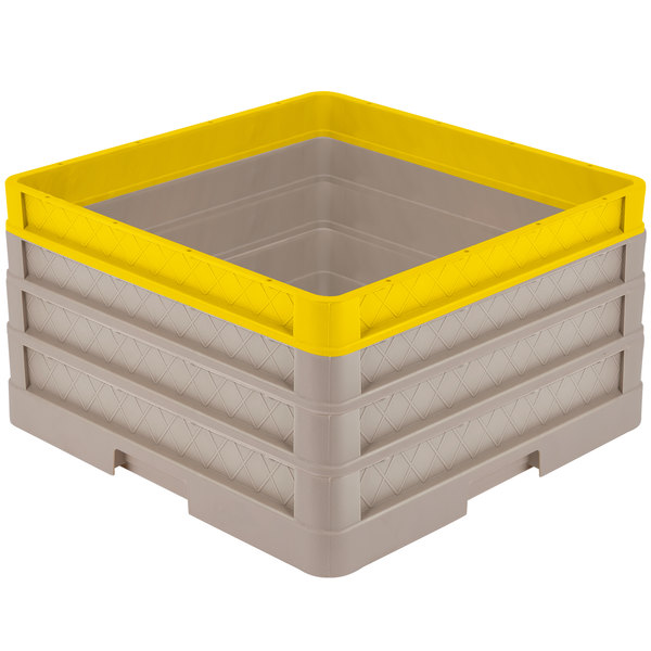 "Vollrath CR1AAA-32908 Traex® Full-Size Beige 9 1/2"" Open Rack with Closed Sides - 2 Beige Extenders, 1 Yellow Extender"