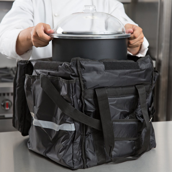 "ServIt Insulated Food Delivery Bag, Black Soft-Sided Heavy-Duty Nylon with Black Cold Crock, Lid, and Ice Pack, 13"" x 13"" x 15 1/2"""