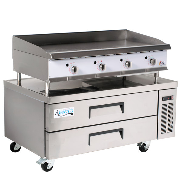 Cooking Performance Group 48GTRBNL 48 inch Heavy-Duty Gas Countertop Griddle with Thermostatic Controls and 2 Drawer Refrigerated Chef Base - 120,000 BTU