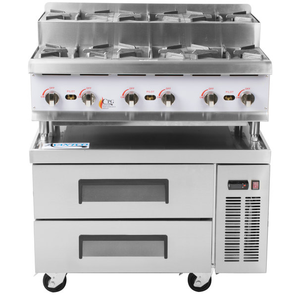 Cooking Performance Group 36RSURBNL 36 inch Gas Countertop Step-Up Range with 2 Drawer Refrigerated Chef Base - 180,000 BTU