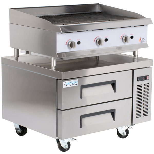 Cooking Performance Group 36CBLRBNL 36 inch Gas Lava Briquette Charbroiler with 2 Drawer Refrigerated Chef Base - 120,000 BTU
