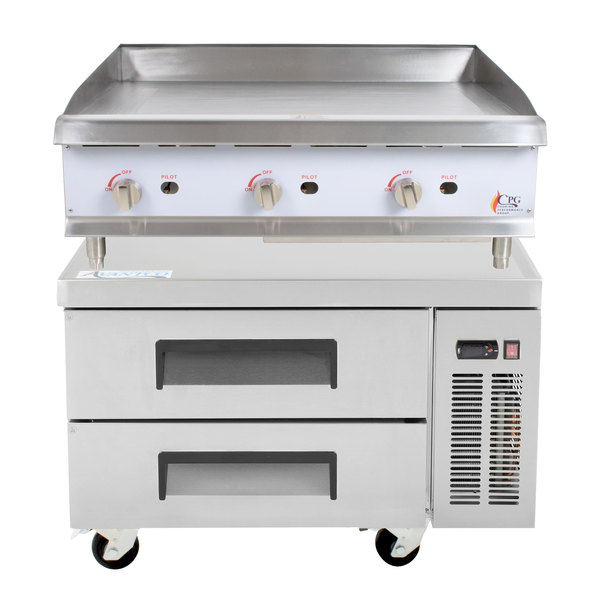 Cooking Performance Group 36GMRBNL 36 inch Gas Countertop Griddle with Manual Controls and 2 Drawer Refrigerated Chef Base - 90,000 BTU