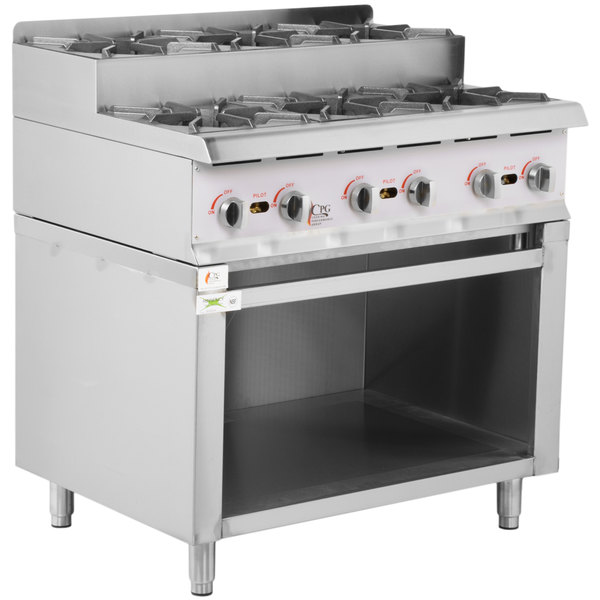 Cooking Performance Group 36RSUSBNL 36 inch Step-Up Gas Range / Hot Plate with Storage Base and High Output Burners - 180,000 BTU