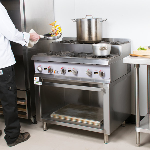 """Cooking Performance Group 36RSUSBNL 36"""" Step-Up Gas Range / Hot Plate with Storage Base and High Output Burners - 180,000 BTU"""