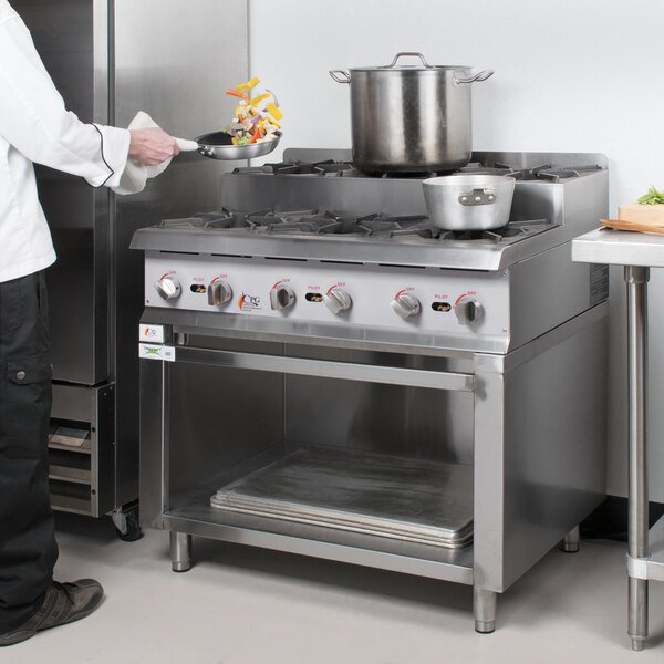 """Cooking Performance Group 36RSUSBNL 36"""" Step-Up Gas Range / Hot Plate with Storage Base and High Output Burners - 180,000 BTU Main Image 3"""