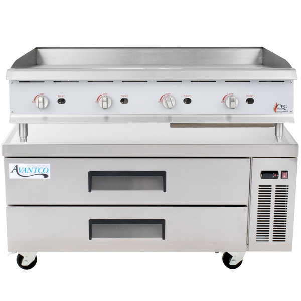 Cooking Performance Group 48GMRBNL 48 inch Gas Countertop Griddle with Manual Controls and 2 Drawer Refrigerated Chef Base - 120,000 BTU