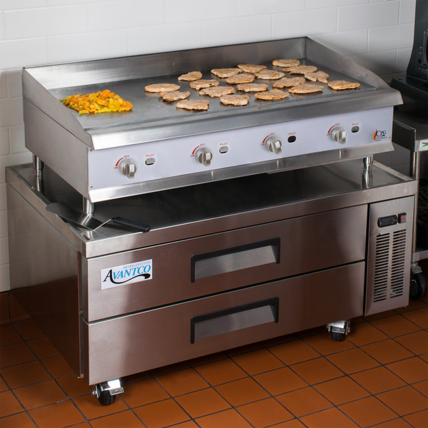 "Cooking Performance Group 48GMRBNL 48"" Gas Countertop Griddle with Manual Controls and 2 Drawer Refrigerated Chef Base - 120,000 BTU"