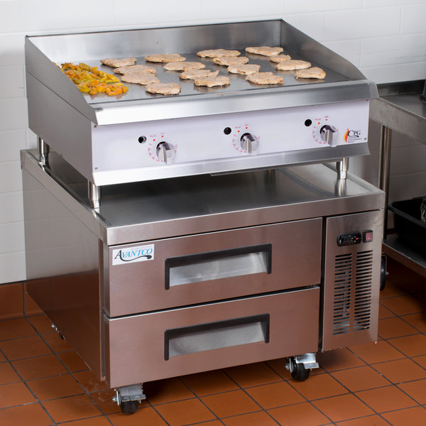 """Cooking Performance Group 36GTRBNL 36"""" Heavy-Duty Gas Countertop Griddle with Flame Failure Protection, Thermostatic Controls, and 2 Drawer Refrigerated Chef Base - 90,000 BTU"""