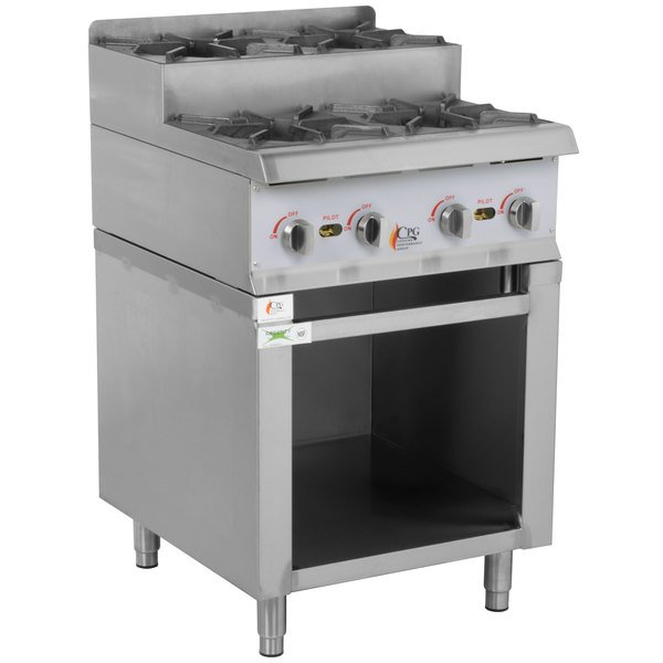 Cooking Performance Group 24RSUSBNL 24 inch Step-Up Gas Range / Hot Plate with Storage Base and High Output Burners - 120,000 BTU