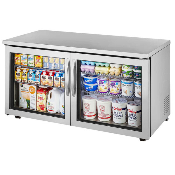 True TUC-60G-LP-HC~FGD01 60 inch Low Profile Undercounter Refrigerator with Glass Doors
