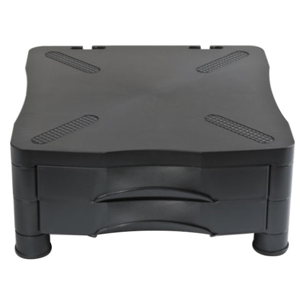"""Kelly 10369 Black 13"""" x 13 1/2"""" x 5 3/4"""" Adjustable Monitor Stand with Double Storage Drawer"""