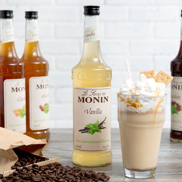 Monin 750 mL Zero Calorie Natural Vanilla Flavoring Syrup