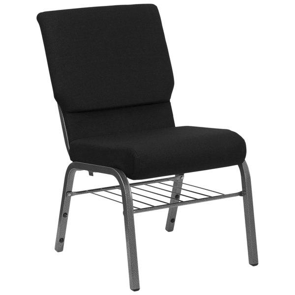 "Flash Furniture XU-CH-60096-BK-SV-BAS-GG Black 18 1/2"" Wide Church Chair with Communion Cup Book Rack - Silver Vein Frame Main Image 1"