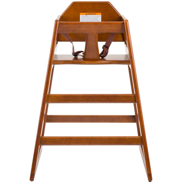 Tablecraft 6666163 Hardwood High Chair with Walnut Finish - Assembled Main Image 1