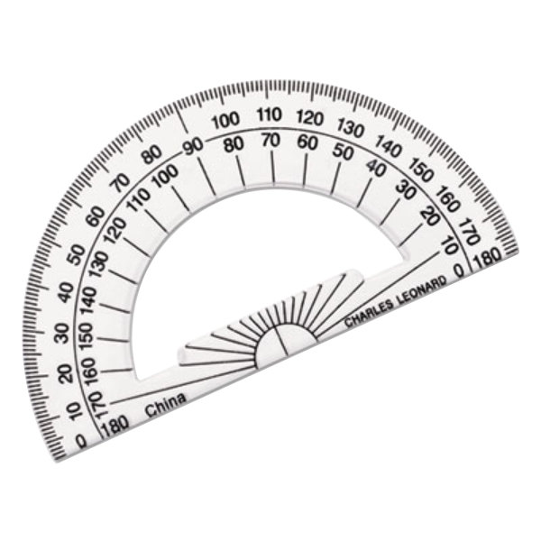 """Charles Leonard 77104 4"""" Clear Plastic Open Center Protractor with Ruler Edge - 12/Pack"""