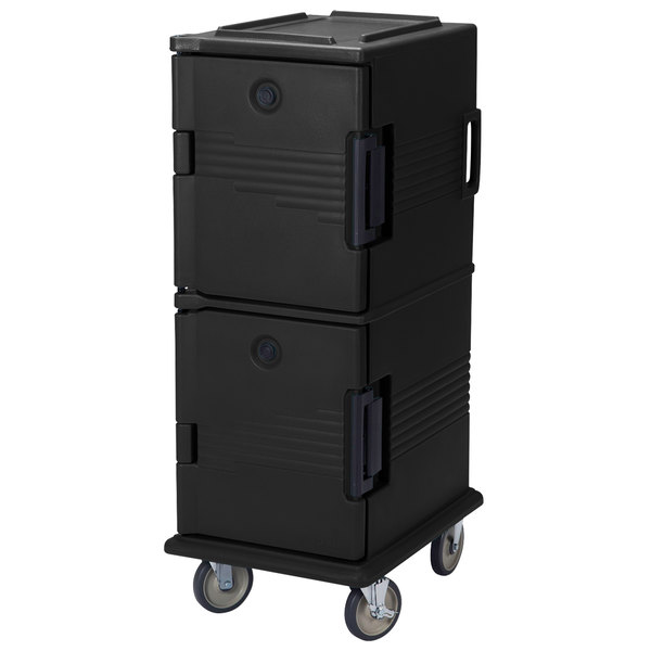 Cambro UPC800SP110 Ultra Camcarts® Black Insulated Food Pan Carrier with Heavy-Duty Casters and Security Package - Holds 12 Pans Main Image 1