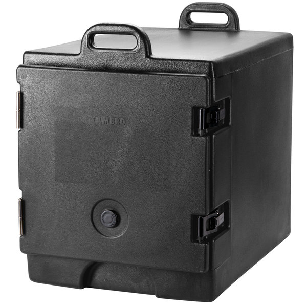 Cambro 300MPC110 Camcarrier Black Front Loading Insulated Food Pan Carrier with Handles