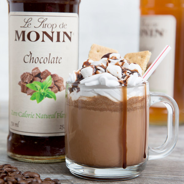 Monin 750 mL Zero Calorie Natural Chocolate Flavoring Syrup Main Image 2