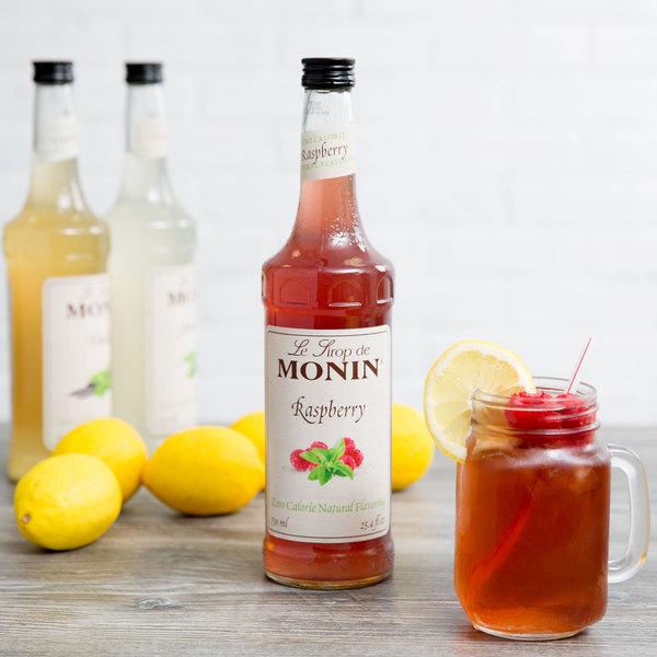 Monin 750 mL Zero Calorie Natural Raspberry Flavoring Syrup