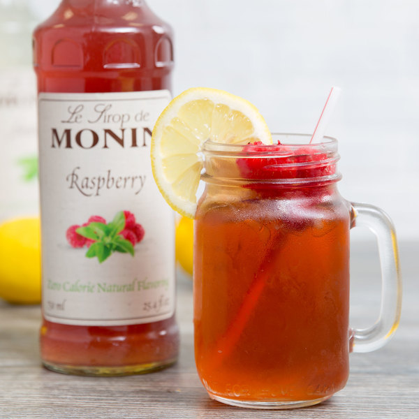 Monin 750 mL Zero Calorie Natural Raspberry Flavoring Syrup