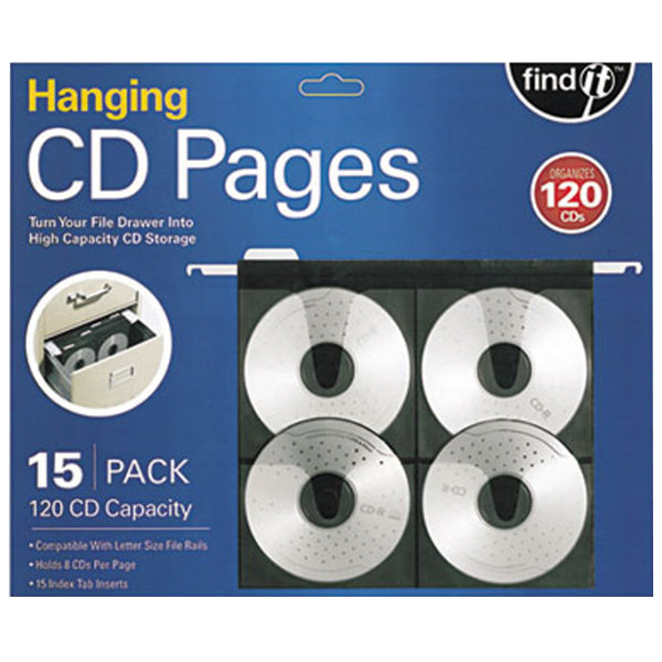 """find It FT07069 11 1/4"""" x 13"""" Hanging CD/DVD Sleeve - 15/Pack Main Image 1"""