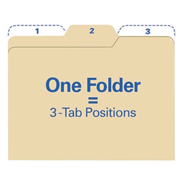 find It FT07046 Letter Size File Folder - Guide Height with 1/3 Cut Assorted Tab, Manilla - 80/Pack Main Image 1