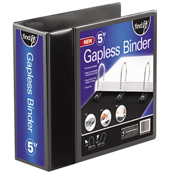 "find It FT07075 Black View Binder with 5"" Gapless Loop Rings Main Image 1"