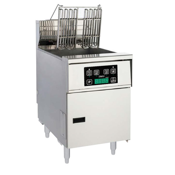 Anets AEH14X D 40-50 lb. High Efficiency Electric Floor Fryer with Digital Controls - 240V, 3 Phase, 14 kW