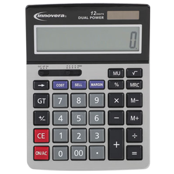 "Innovera 15968 5"" x 7"" 12-Digit LCD Solar / Battery Powered Minidesk Calculator"