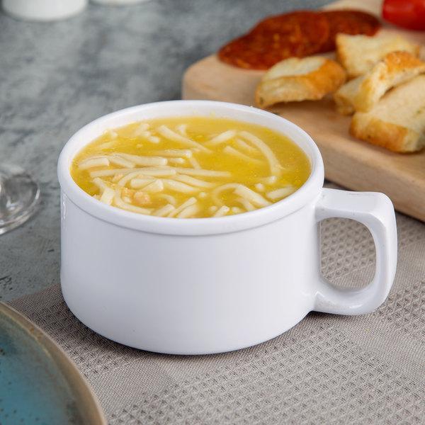 Thunder Group CR9016W 10 oz. White Melamine Soup Mug with Handle - 12/Pack Main Image 3