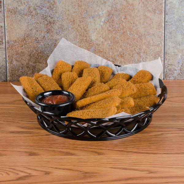 """GET RB-860-BK 10 1/2"""" Black Round Plastic Fast Food Basket - 12/Pack"""
