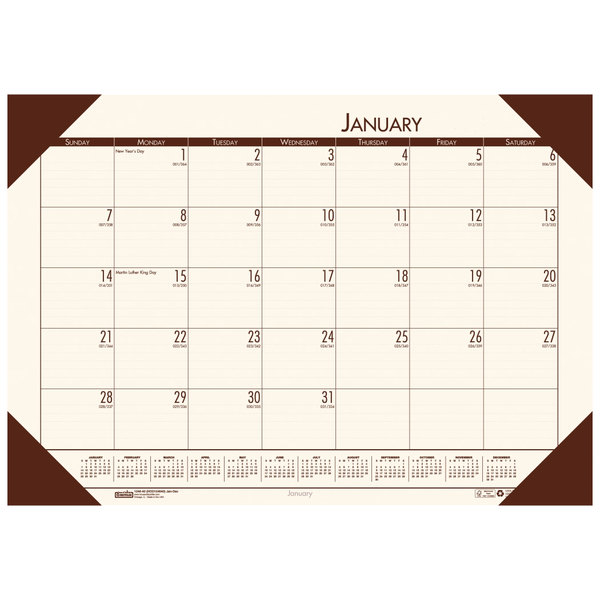 "House of Doolittle 12441 Recycled Eco Tones 22"" x 17"" Moonlight Cream Monthly January 2020 - December 2020 Desk Pad Calendar"