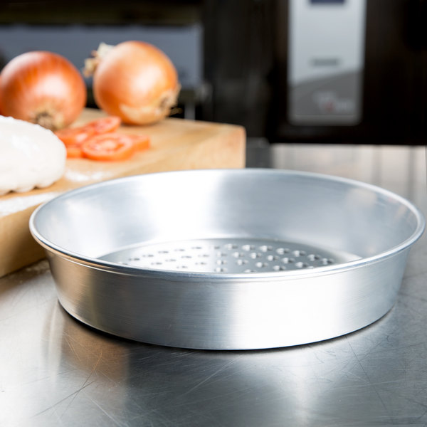 """American Metalcraft SPA90102 10"""" x 2"""" Super Perforated Standard Weight Aluminum Tapered / Nesting Pizza Pan"""