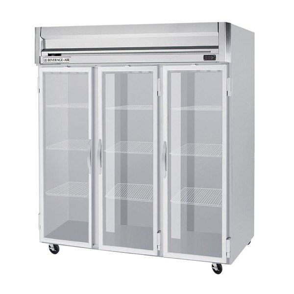 "Beverage-Air HF3-5G Horizon Series 78"" Glass Door Reach-In Freezer with LED Lighting"