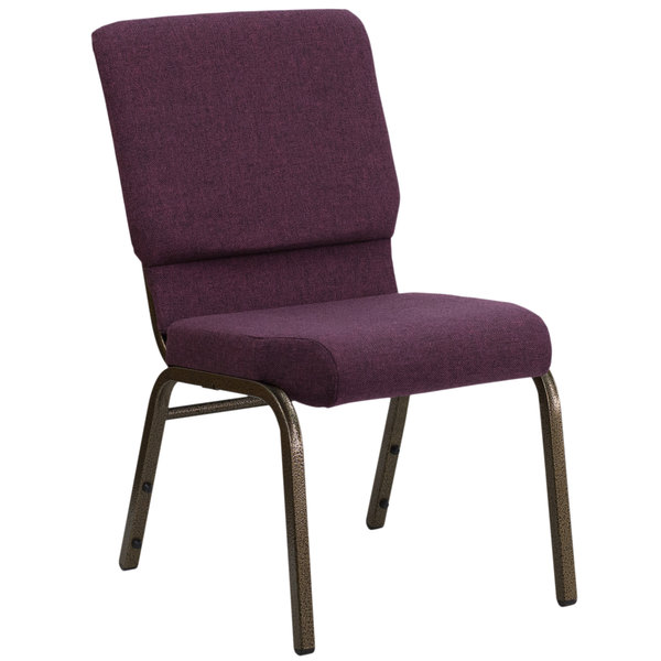 "Flash Furniture FD-CH02185-GV-005-GG Plum 18 1/2"" Wide Church Chair with Gold Vein Frame Main Image 1"