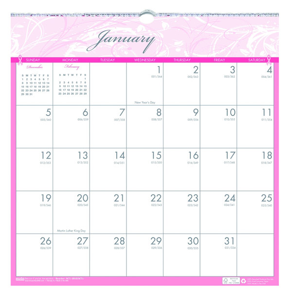 "House of Doolittle 3671 12"" x 12"" Recycled Breast Cancer Awareness Monthly January 2020 - December 2020 Wall Calendar"