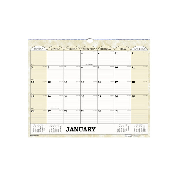 """House of Doolittle 319 14 7/8"""" x 12"""" Recycled Marble Monthly January 2020 - December 2020 Horizontal Wall Calendar"""