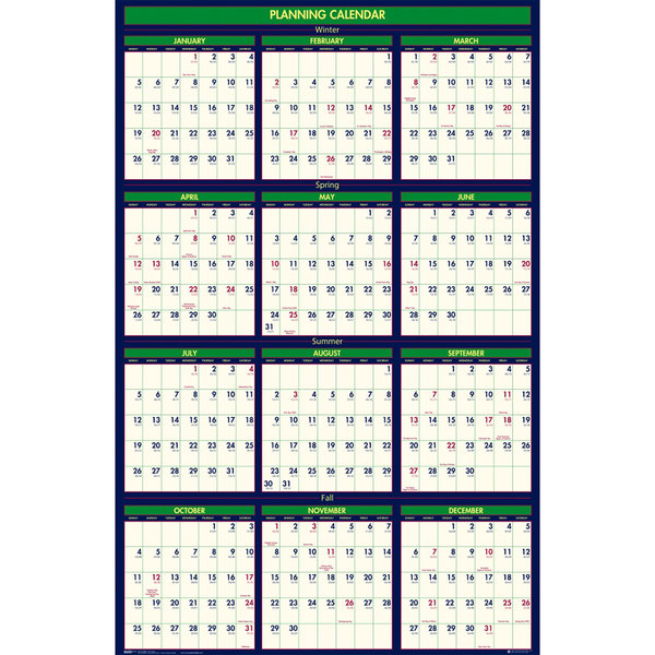 """House of Doolittle 390 24"""" x 37"""" Recycled 4 Seasons Yearly 2019 - 2020 Reversible Business/Academic Wall Calendar"""