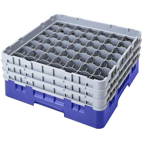 "Cambro 49S638168 Blue Camrack Customizable 49 Compartment 6 7/8"" Glass Rack"