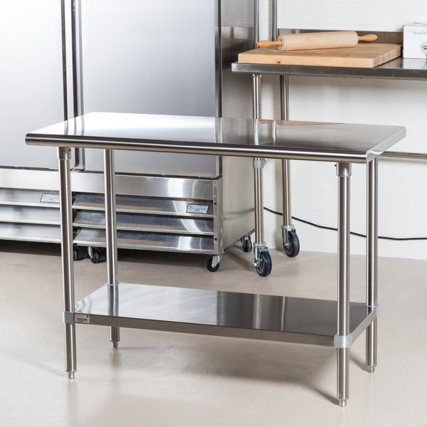 """Advance Tabco Premium Series SS-244 24"""" x 48"""" 14 Gauge Stainless Steel Commercial Work Table with Undershelf"""