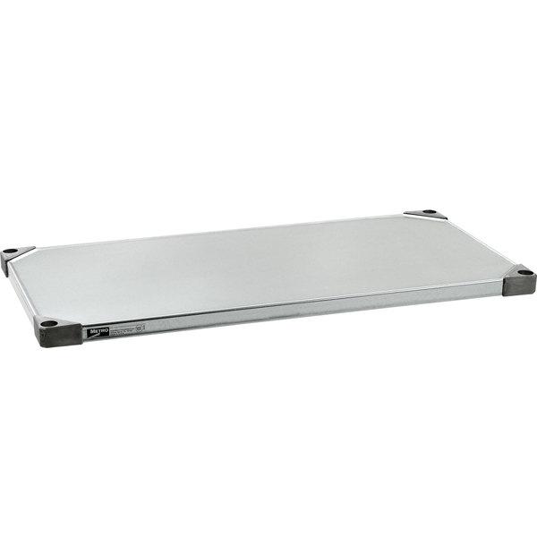 """Metro 1448FS 14"""" x 48"""" 18 Gauge Flat Stainless Steel Solid Shelf"""