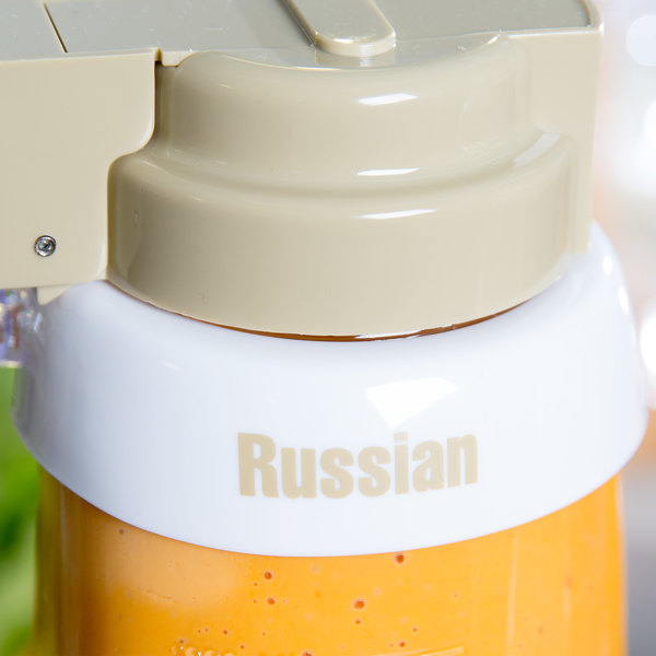 """Tablecraft CB7 Imprinted White Plastic """"Russian"""" Salad Dressing Dispenser Collar with Beige Lettering"""
