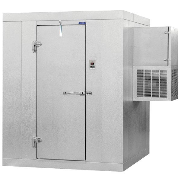 "Left Hinged Door Nor-Lake KODB66-W Kold Locker 6' x 6' x 6' 7"" Outdoor Walk-In Cooler with Wall Mounted Refrigeration"