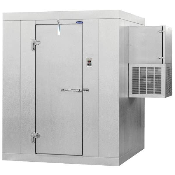 "Left Hinged Door Nor-Lake KODF46-W Kold Locker 4' x 6' x 6' 7"" Outdoor Walk-In Freezer with Wall Mounted Refrigeration"