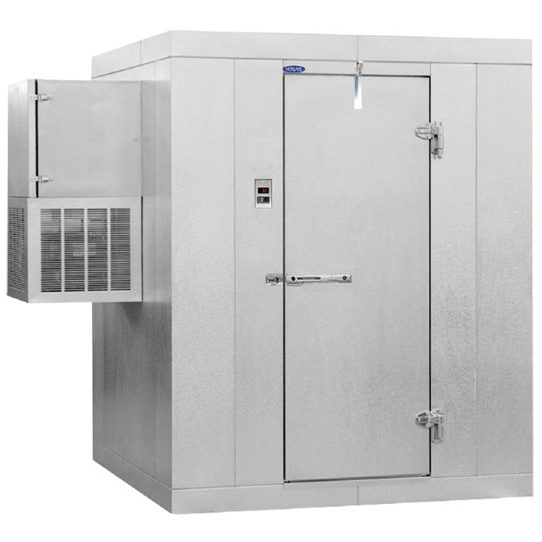 "Right Hinged Door Nor-Lake KODF68-W Kold Locker 6' x 8' x 6' 7"" Outdoor Walk-In Freezer with Wall Mounted Refrigeration"