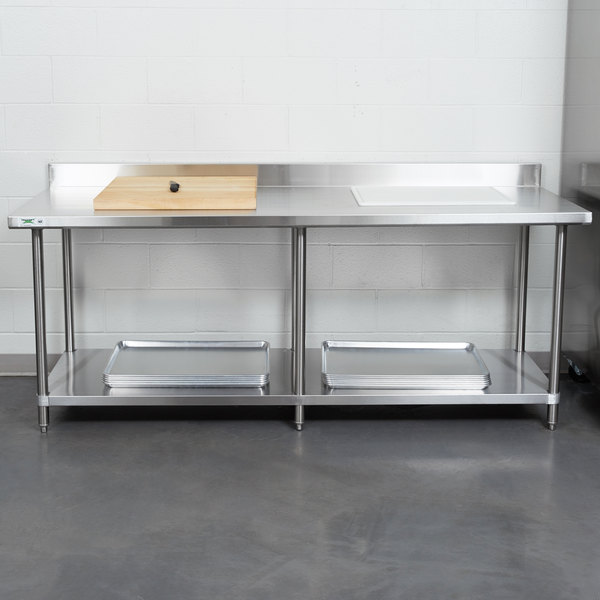 "Regency 30"" x 84"" 16-Gauge Stainless Steel Commercial Work Table with 4"" Backsplash and Undershelf"