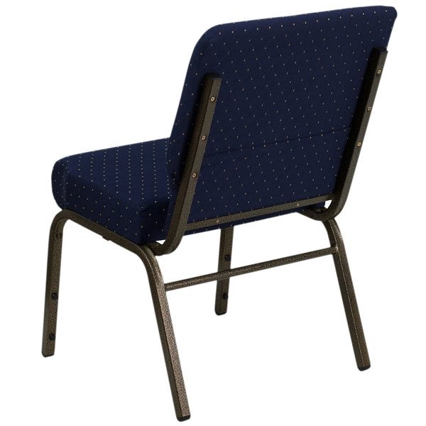 Wondrous Flash Furniture Fd Ch0221 4 Gv S0810 Gg Navy Blue Dot Patterned 21 Extra Wide Church Chair With Gold Vein Frame Ncnpc Chair Design For Home Ncnpcorg